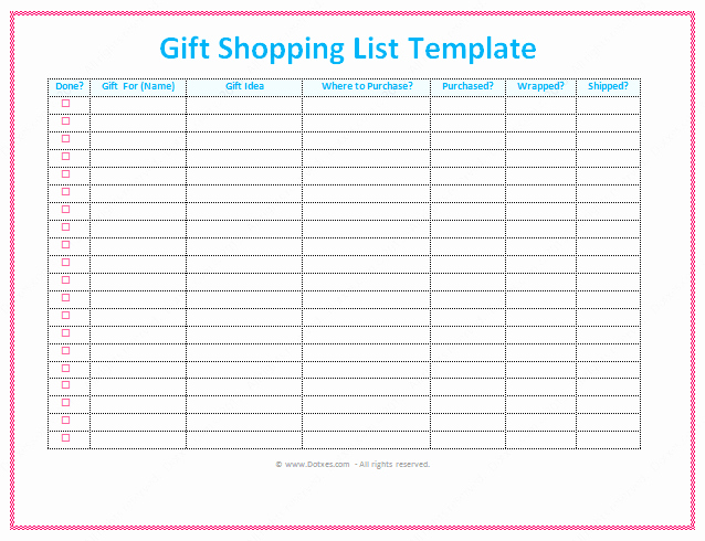 Retail Store Checklist Template Luxury Gift List Template Word Dotxes