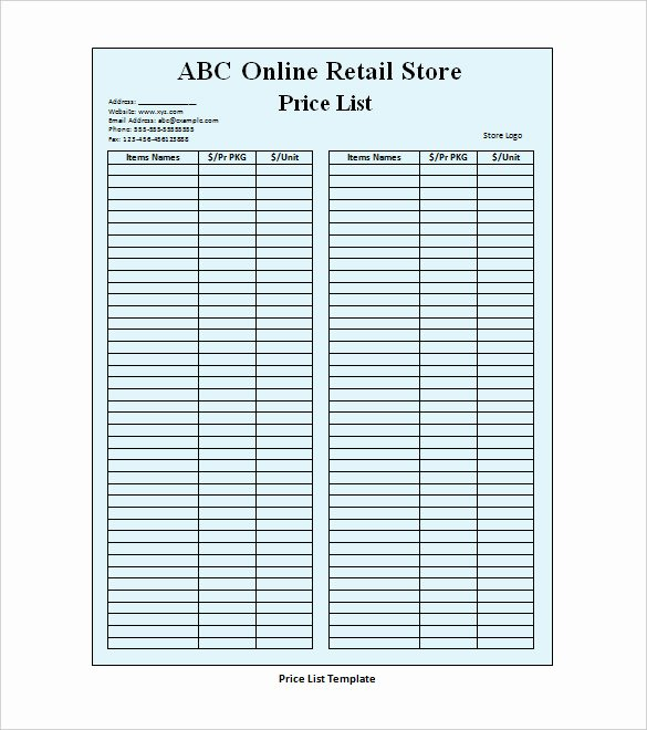 Retail Store Cleaning Checklist Beautiful 25 Price List Templates Doc Pdf Excel Psd
