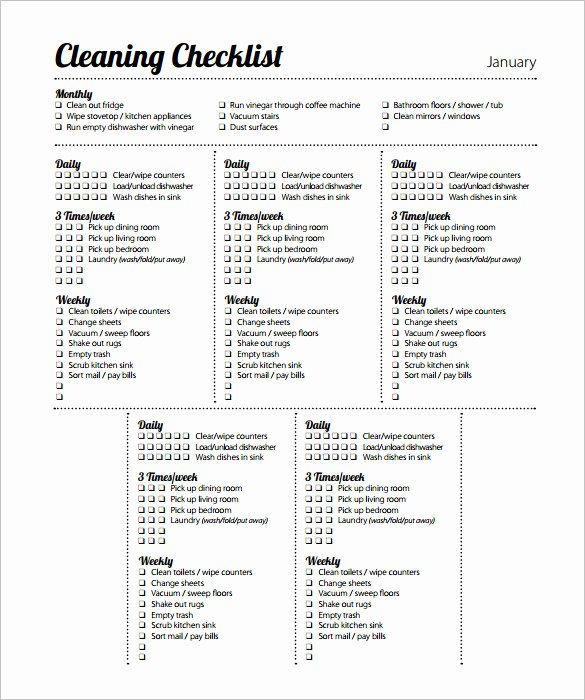 Retail Store Cleaning Checklist Template Fresh 46 Cleaning Schedule Templates Pdf Doc Xls