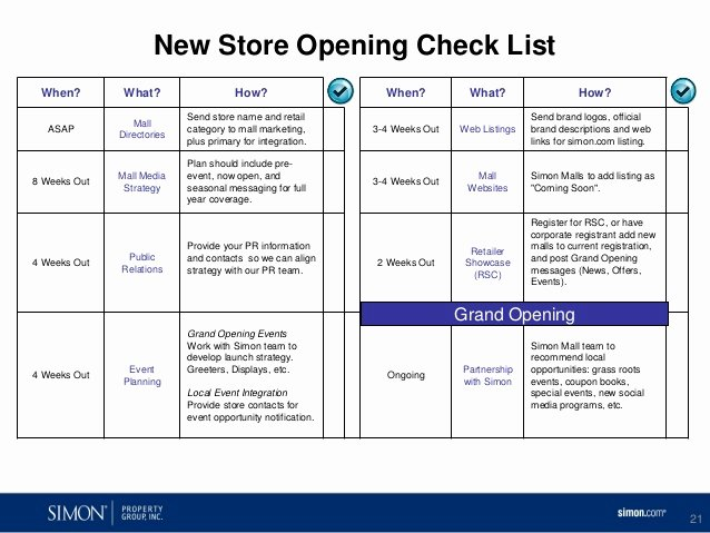 Retail Store Daily Checklist New Columbia Center Retailer Marketing Support Presentation