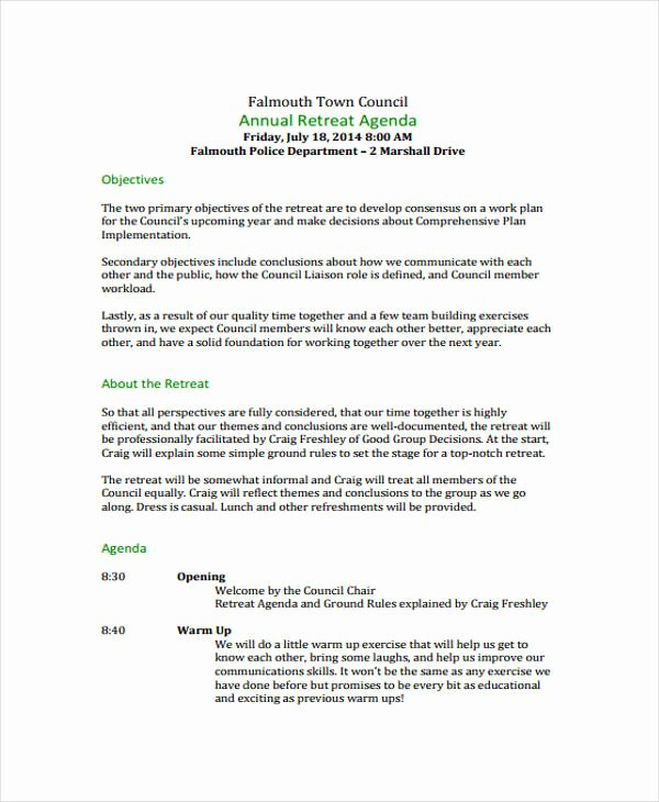 Retreat Itinerary Template Awesome 10 Retreat Agenda Templates Free Sample Example format