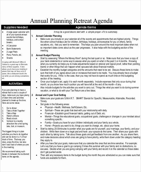 Retreat Itinerary Template Beautiful 9 Annual Agenda Templates