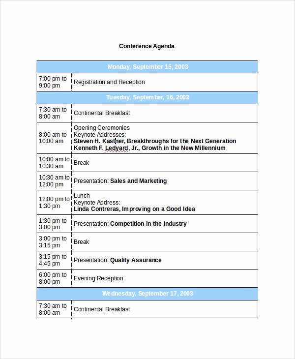 Retreat Itinerary Template Fresh Sample Conference Agenda 7 Documents In Pdf Word