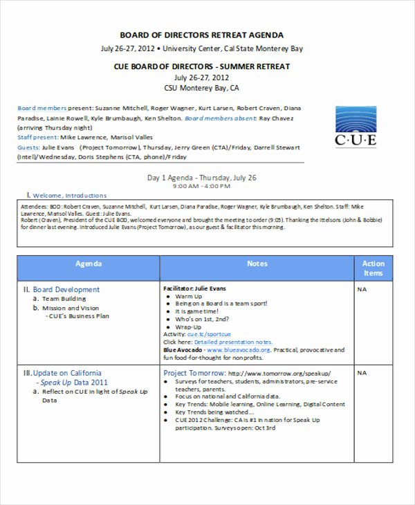 Retreat Itinerary Template Inspirational Nonprofit Agenda Templates 7 Free Sample Example
