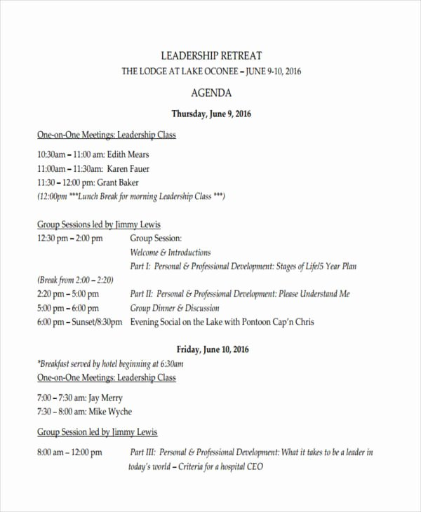 Retreat Itinerary Template Lovely 10 Retreat Agenda Examples Samples