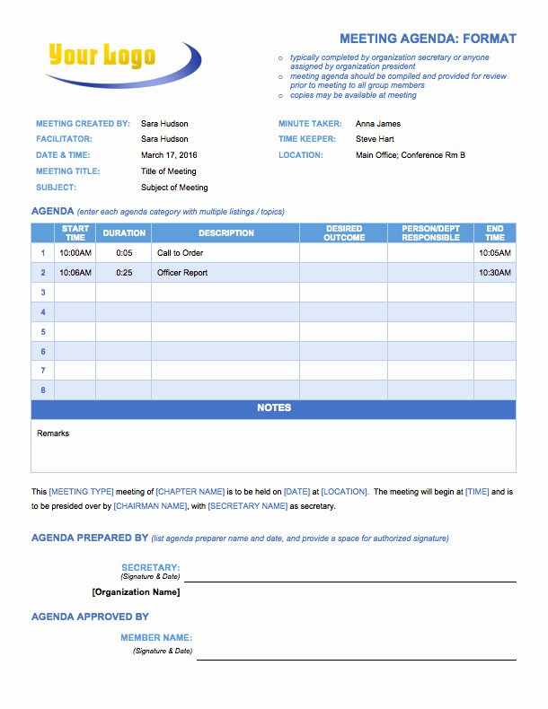 Retreat Itinerary Template Lovely Free Meeting Agenda Templates Smartsheet
