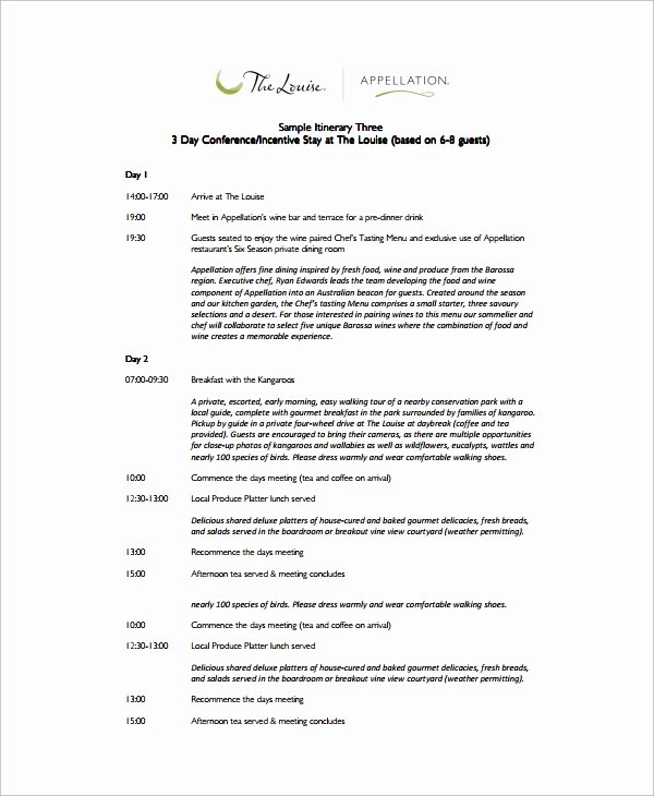 Retreat Itinerary Template Luxury Sample event Itinerary Template 9 Dcouments Download In