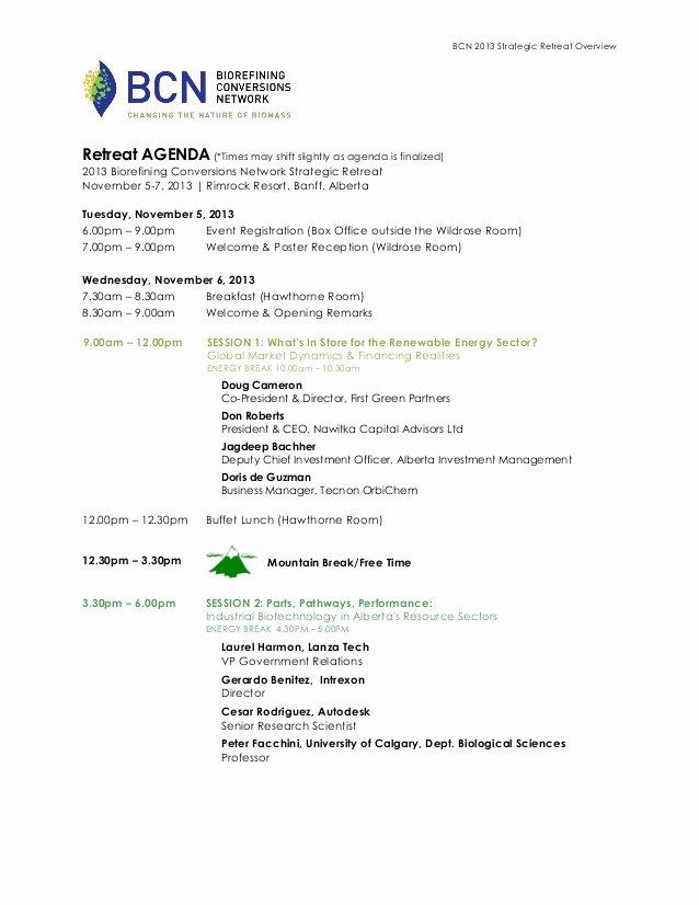 Retreat Itinerary Template New 2013 Bcn Retreat Agenda