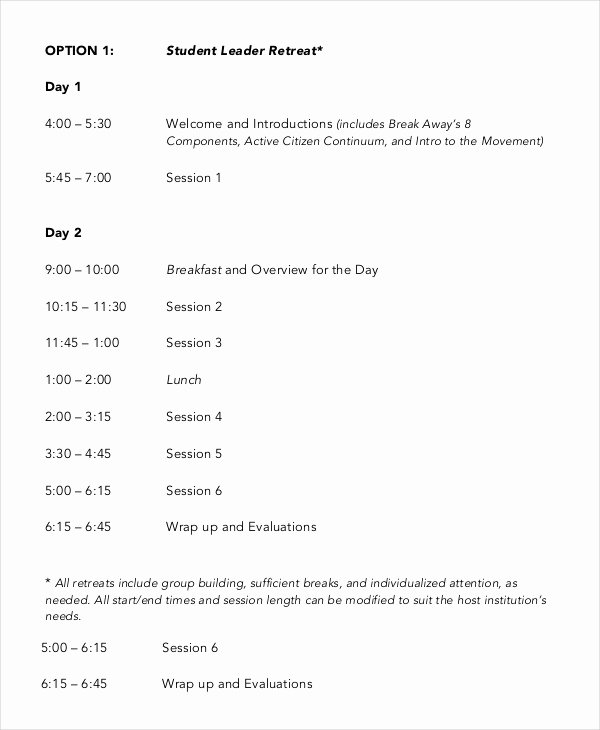 Retreat Schedule Template Best Of Retreat Agenda Template 7 Free Word Pdf Documents