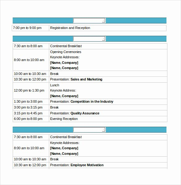 Retreat Schedule Template Inspirational 16 Conference Schedule Samples