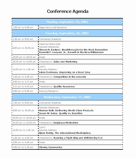Retreat Schedule Template New Interesting Template Word Sample for Conference Agenda