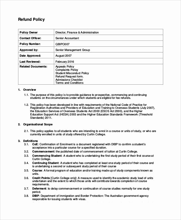 Return Policy Template Word Awesome Sample Refund Policy 8 Documents In Word Pdf