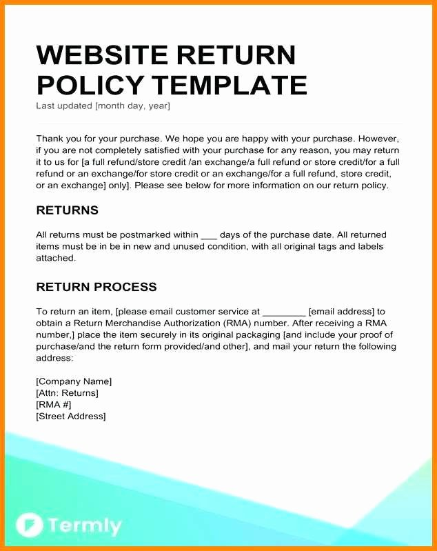 Return Policy Template Word Lovely 9 10 Return Policy Template Word