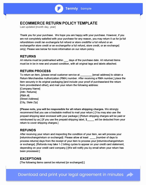 Return Policy Template Word Luxury Return Policy Template & Examples Free to Download