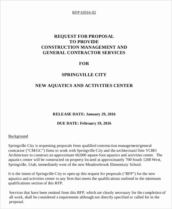 Rfp Proposal Example Elegant 14 Request for Proposal Templates Free Sample Example