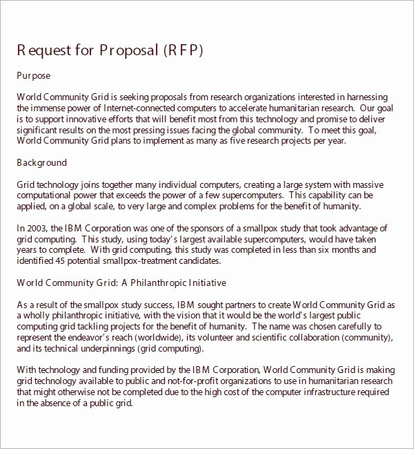 Rfp Proposal Example Inspirational 15 Sample Free Request for Proposal Templates