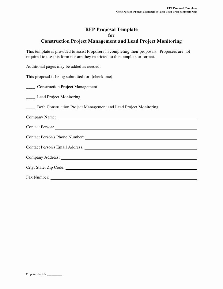Rfp Proposal Example Luxury Rfp Proposal Template for Construction Project Management