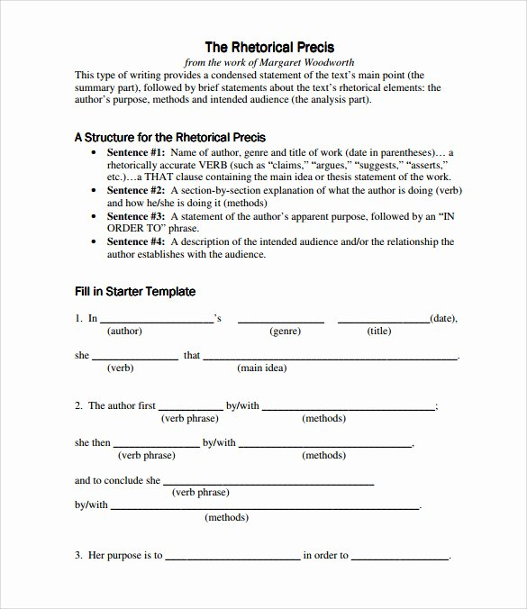 Rhetorical Precis Template Avid Best Of Sample Rhetorical Precis 5 Documents In Pdf