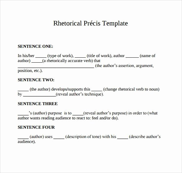 Rhetorical Precis Template Avid Lovely Rhetorical Precis Template Pdf Example Free Download