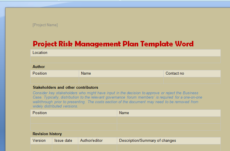 Risk Management Plan Template Doc Beautiful Project Risk Management Plan Template Word