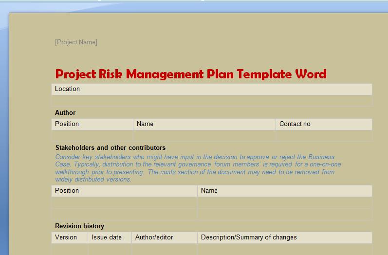 Risk Management Plan Template Doc Beautiful Project Risk Management Plan Template Word