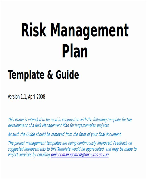 Risk Management Plan Template Doc Elegant 7 Sample Project Plan Template Word