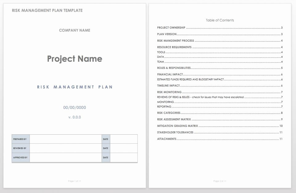 Risk Management Plan Template Doc Luxury Free Risk Management Plan Templates