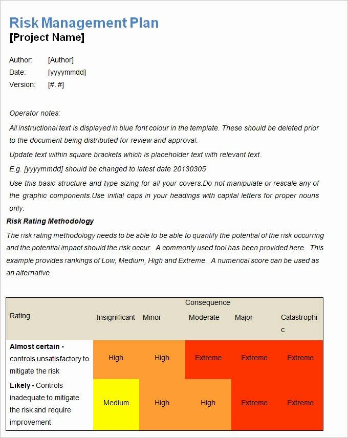 Risk Management Plan Template Doc Unique Farm Business and Risk assessment Plan Template