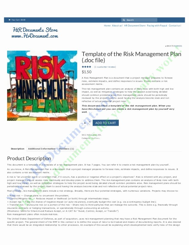 Risk Management Plan Template Doc Unique Template Of the Risk Management Plan C File Hr