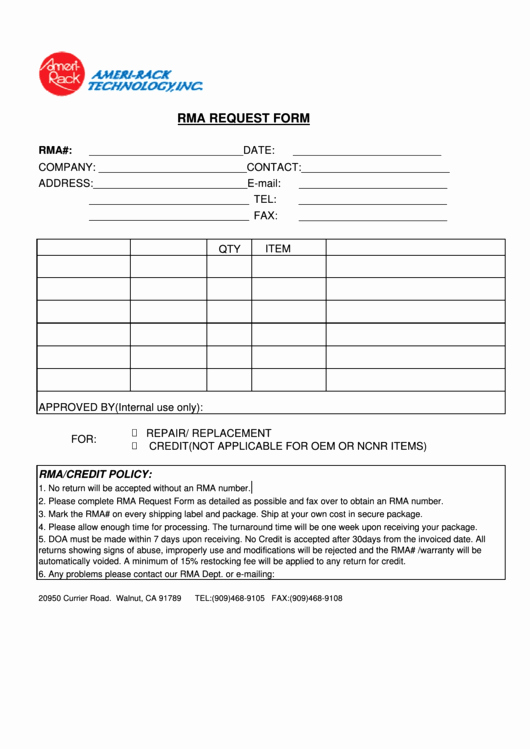 Rma form Template Beautiful top 9 Rma Request form Templates Free to In Pdf