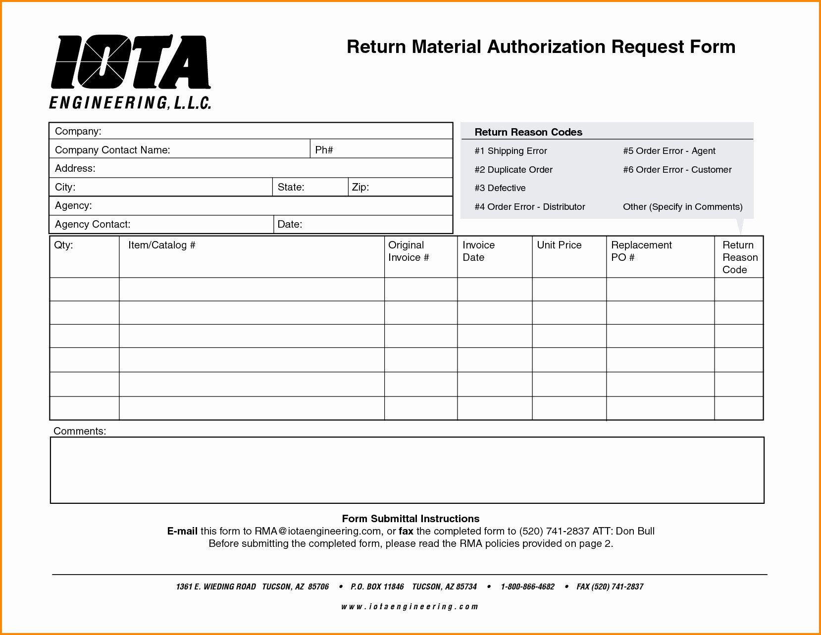 Rma form Template Unique 17 Return form Template – Cgcprojects