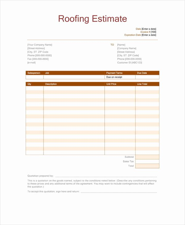 Roofing Bid Proposal Template Best Of 12 Roofing Estimate Templates Pdf Doc