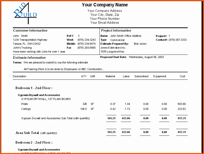 Roofing Bid Proposal Template New Sample Construction Bid forms 8 – Free