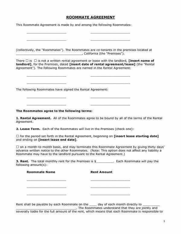 Room Rental Agreement California Free form Elegant Printable Sample Roommate Agreement form form