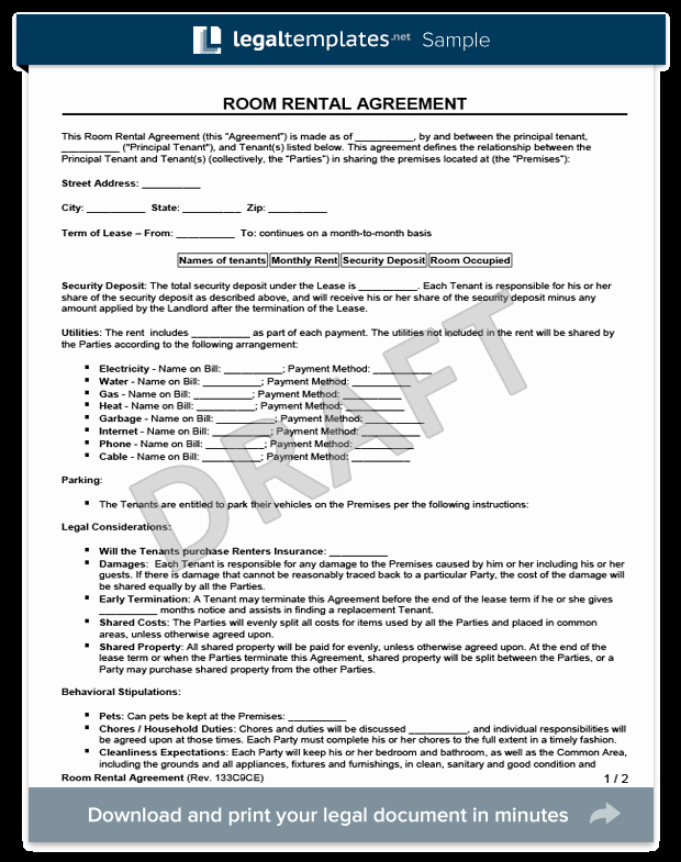 Room Rental Agreement California Free form Lovely Room Rental Agreement form