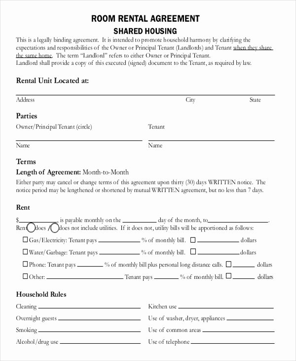 Room Rental Agreement California Free form New 13 Room Rental Agreement Templates – Free Downloadable