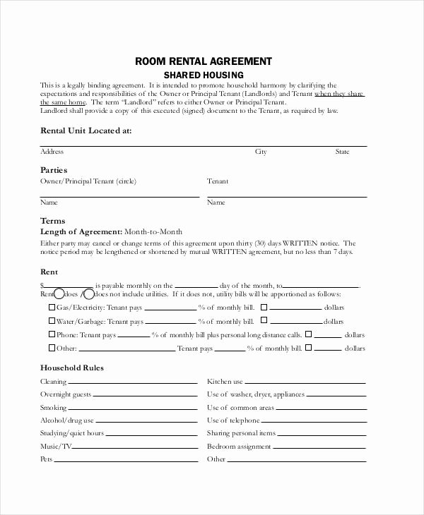 Room Rental Agreement California Free form New Rent Agreement form 9 Free Word Pdf Documents Download