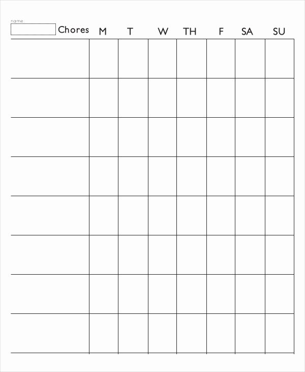 Roommate Chore Chart Template Inspirational 7 Printable Chore Chart Free Pdf Documents Download