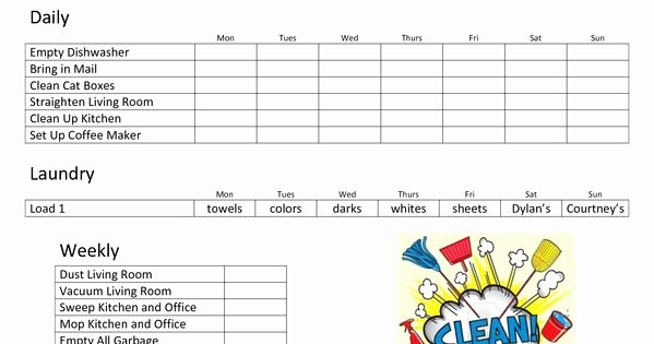 Roommate Chore Chart Template Luxury Daily Family Chore Chart Template
