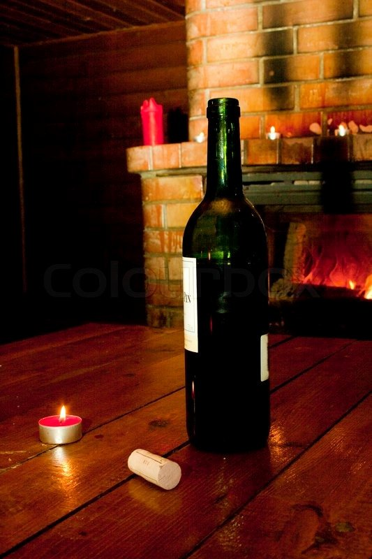 Roomstore Credit Card Log In Awesome Wine Bottle Standing On Table before Burning Fireplace