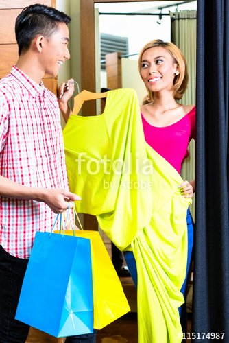 """Roomstore Credit Card Log In Lovely """"asian Couple In Fashion Store at Dressing Room"""" Stock"""