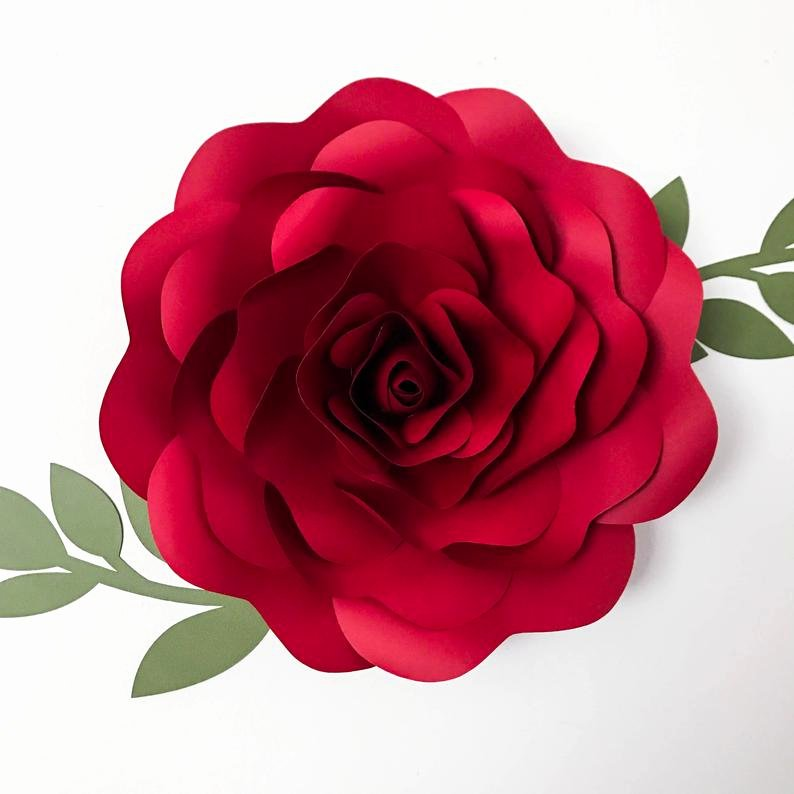 Rose Petal Svg Elegant Svg Petal 39 Rose Paper Flower Template Digital Version