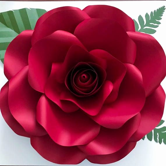 Rose Petal Svg New Paper Flowers Medium Rose Pdf Printable Giant Paper Flower