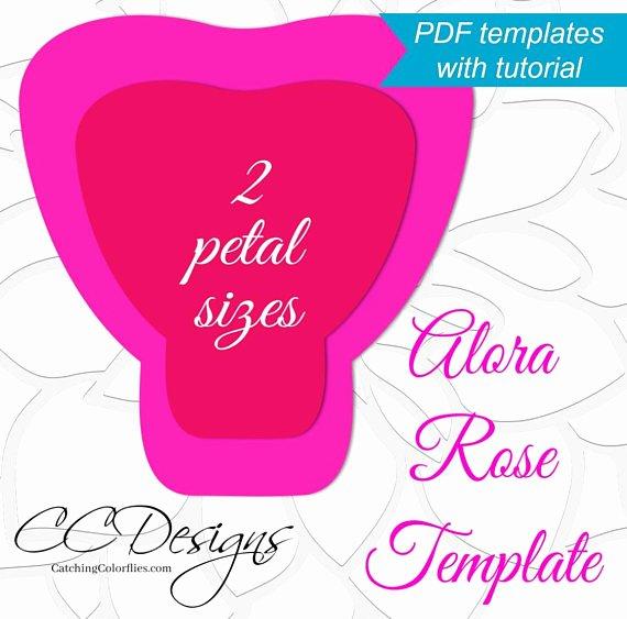 Rose Petal Template Luxury Printable Pdf Paper Rose Templates Giant Paper Rose Flower