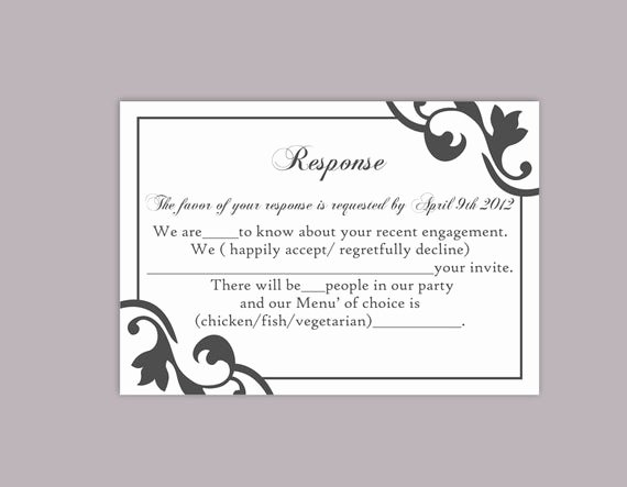 Rsvp Cards Templates Free Best Of Diy Wedding Rsvp Template Editable Text Word File Instant