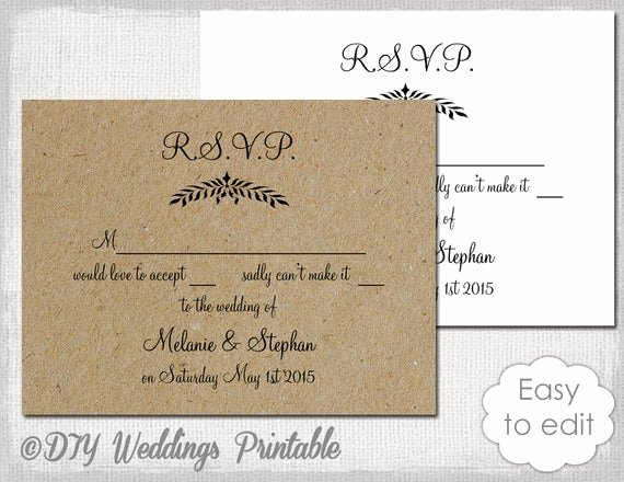 Rsvp Cards Templates Free Best Of Rustic Wedding Rsvp Template Leaf Garland