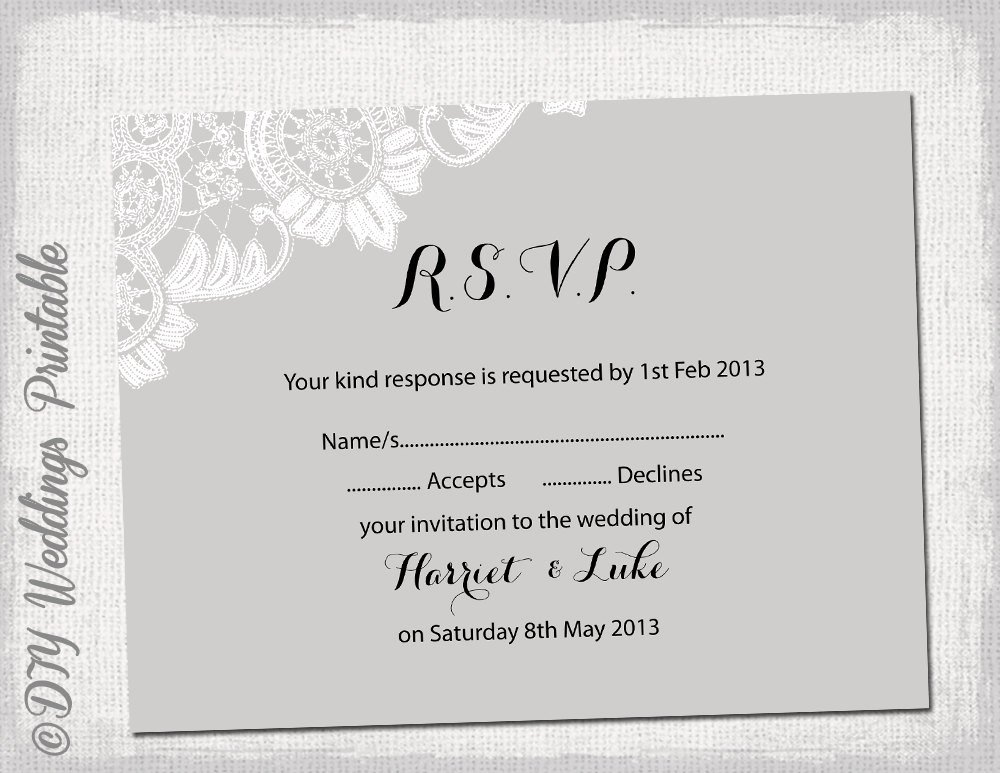 Rsvp Cards Templates Free Fresh Wedding Rsvp Template Diy Silver Gray Antique
