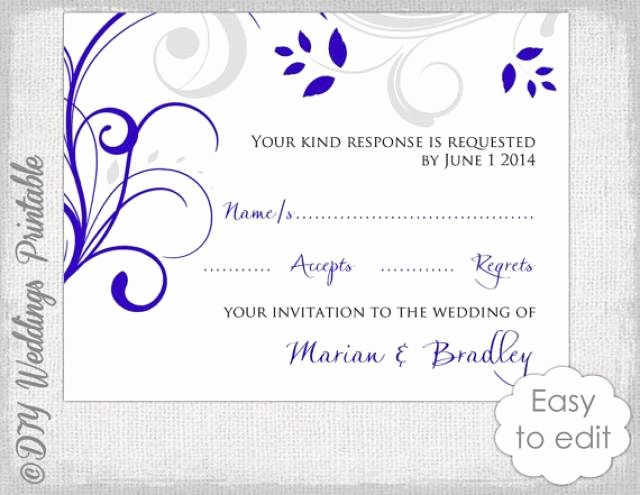 Rsvp Cards Templates Free Luxury Response Card Template Diy Royal Blue & Silver Gray