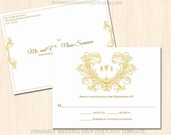 Rsvp Postcard Template Free Fresh Printable Wedding Rsvp Postcard Template by