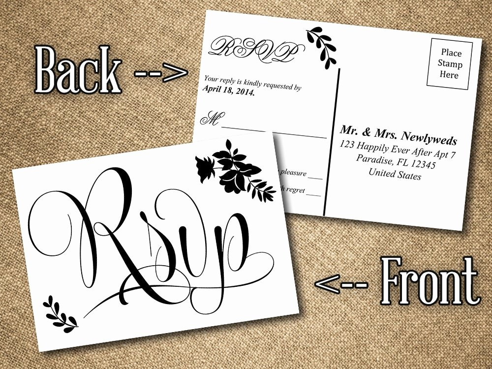 Rsvp Postcard Template Free Inspirational Diy Wedding Rsvp Postcard Word Template Vintage Romance